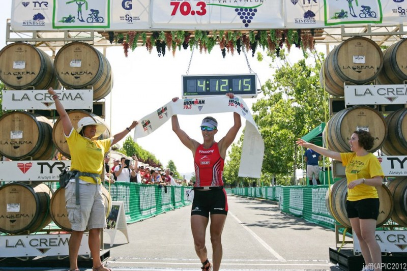Meredith Kessler finishing chute Vineman 70.3 2012