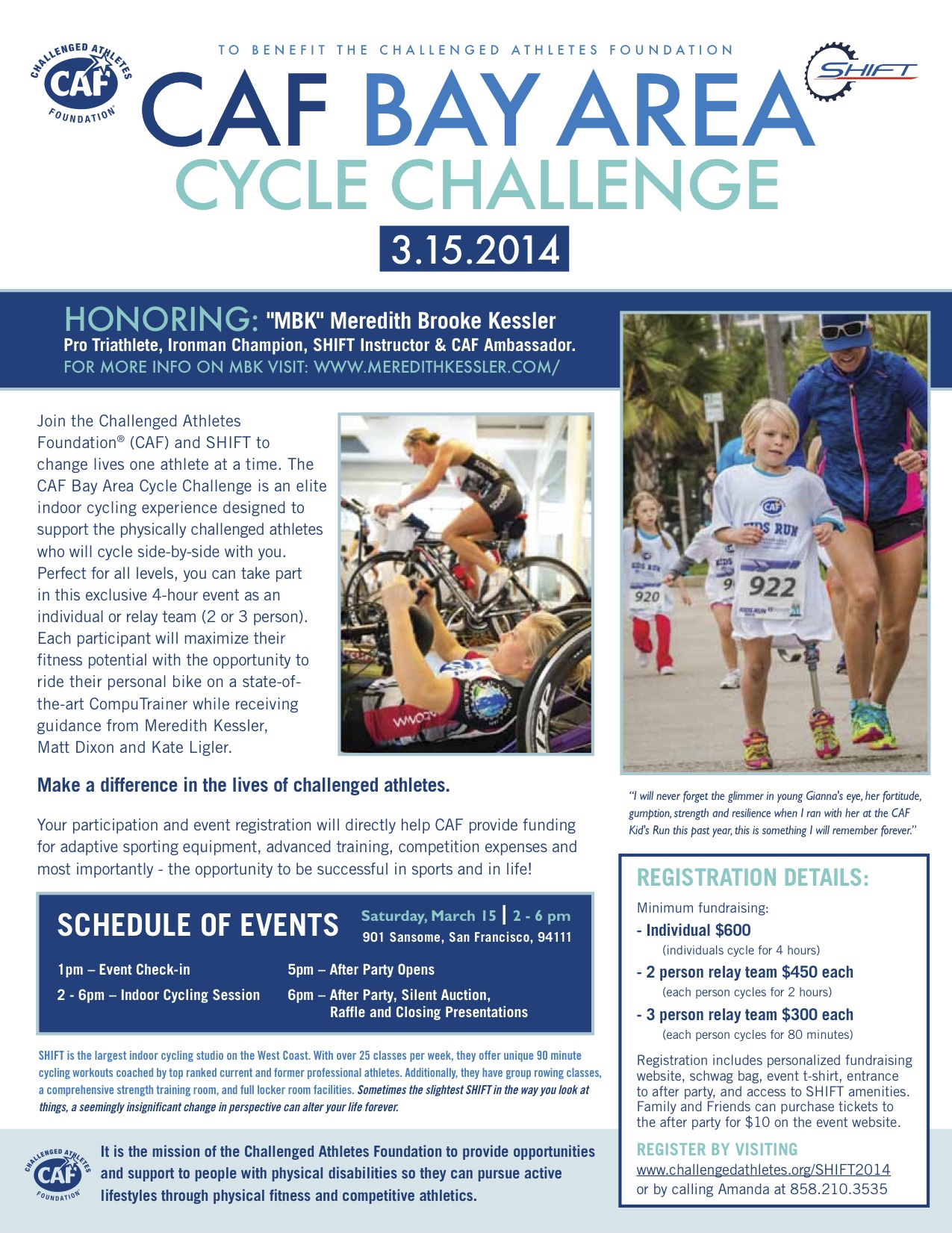 Meredith Kessler Challenged Athletes Foundation Flyer 2014 Bay Area Cycling Challenge