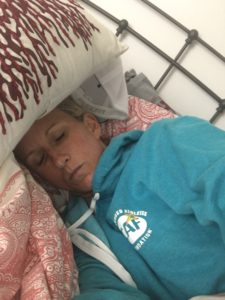 Meredith Kessler Triathlete sleeping with pillow on head