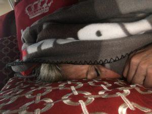 Meredith Kessler Triathlete Sleeping with Blanket over head