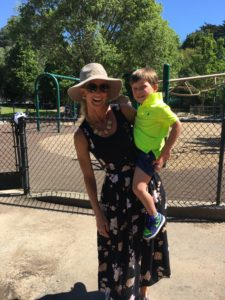 Meredith Kessler Triathlete with nephew at park in mill valley california