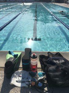 Meredith Kessler Triathlete Swim Gear Roka Fins Paddles Goggles Pool Red Bull