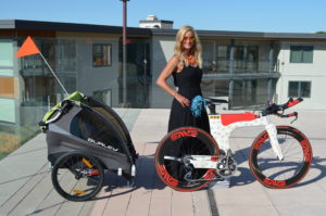Meredith Kessler Triathlete with Ventum Bike and Baby Stroller
