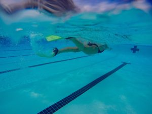 Meredith Kessler Triathlete Swimming in Pool with Fins