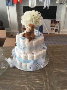 Meredith Kessler diaper cake at baby shower Marin