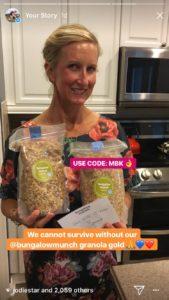 Meredith Kessler holding Bungalow Munch granola