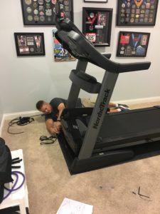 Meredith Kessler husband Aaron Kessler building NordicTrack Treadmill