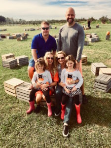 Meredith Kessler with friends at Lynd's fruit farm