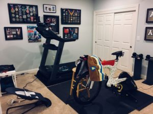 Meredith Kessler home workout facility Ventum Bike CycleOps Hammer